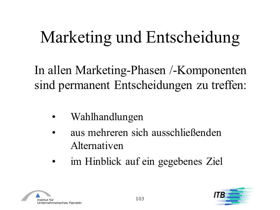 103 Marketing und Entscheidung In allen Marketing-Phasen /-Komponenten sind permanent Entscheidungen zu treffen: Wahlhandlungen aus mehreren sich auss