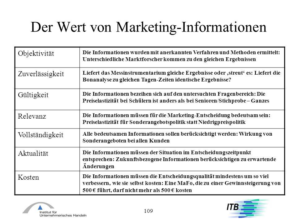 109 Der Wert von Marketing-Informationen Objektivität Die Informationen wurden mit anerkannten Verfahren und Methoden ermittelt: Unterschiedliche Mark