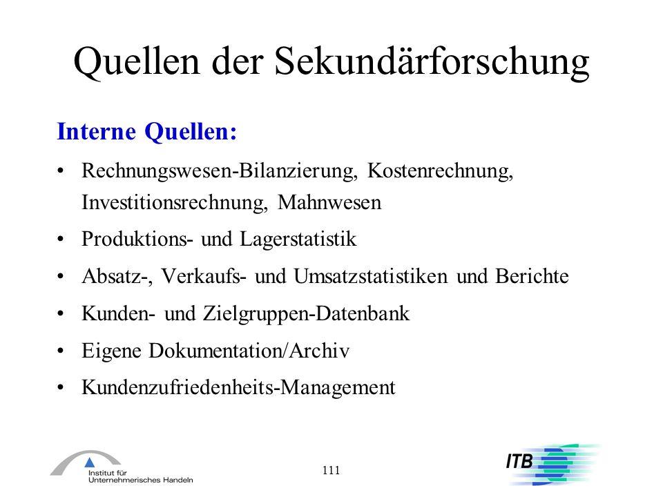 111 Quellen der Sekundärforschung Interne Quellen: Rechnungswesen-Bilanzierung, Kostenrechnung, Investitionsrechnung, Mahnwesen Produktions- und Lager