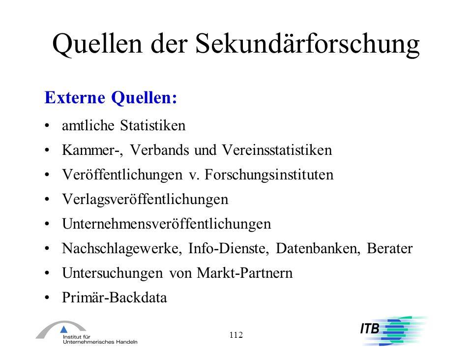 112 Quellen der Sekundärforschung Externe Quellen: amtliche Statistiken Kammer-, Verbands und Vereinsstatistiken Veröffentlichungen v. Forschungsinsti