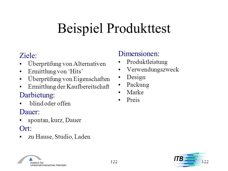 122 Beispiel Produkttest Ziele: Überprüfung von Alternativen Ermittlung von Hits Überprüfung von Eigenschaften Ermittlung der Kaufbereitschaft Darbiet