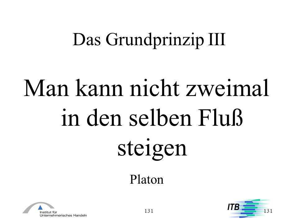 131 Das Grundprinzip III Man kann nicht zweimal in den selben Fluß steigen Platon