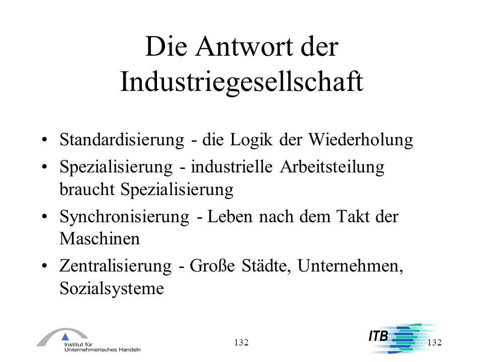 132 Die Antwort der Industriegesellschaft Standardisierung - die Logik der Wiederholung Spezialisierung - industrielle Arbeitsteilung braucht Speziali