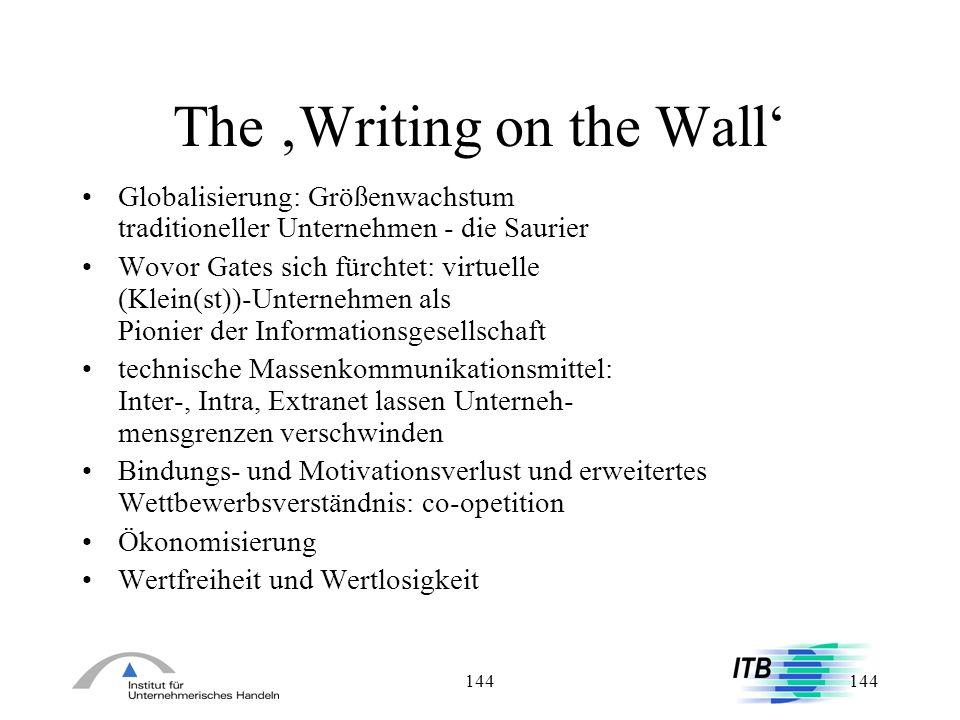 144 The Writing on the Wall Globalisierung: Größenwachstum traditioneller Unternehmen - die Saurier Wovor Gates sich fürchtet: virtuelle (Klein(st))-U