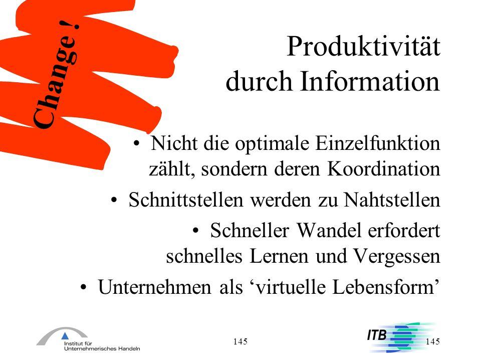145 Produktivität durch Information Nicht die optimale Einzelfunktion zählt, sondern deren Koordination Schnittstellen werden zu Nahtstellen Schneller