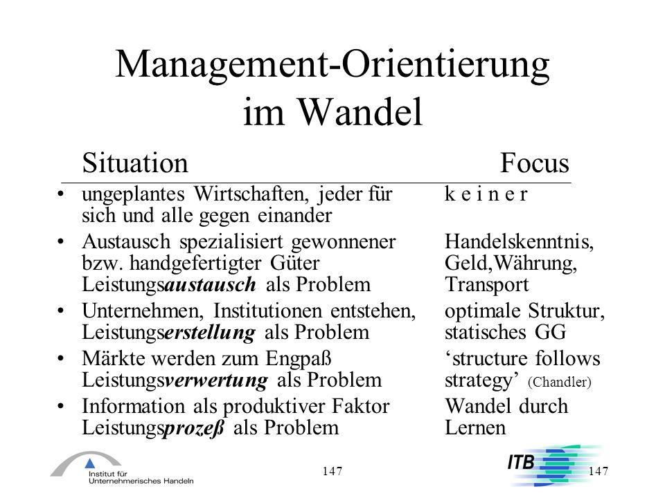 147 Management-Orientierung im Wandel SituationFocus ungeplantes Wirtschaften, jeder für k e i n e r sich und alle gegen einander Austausch spezialisi