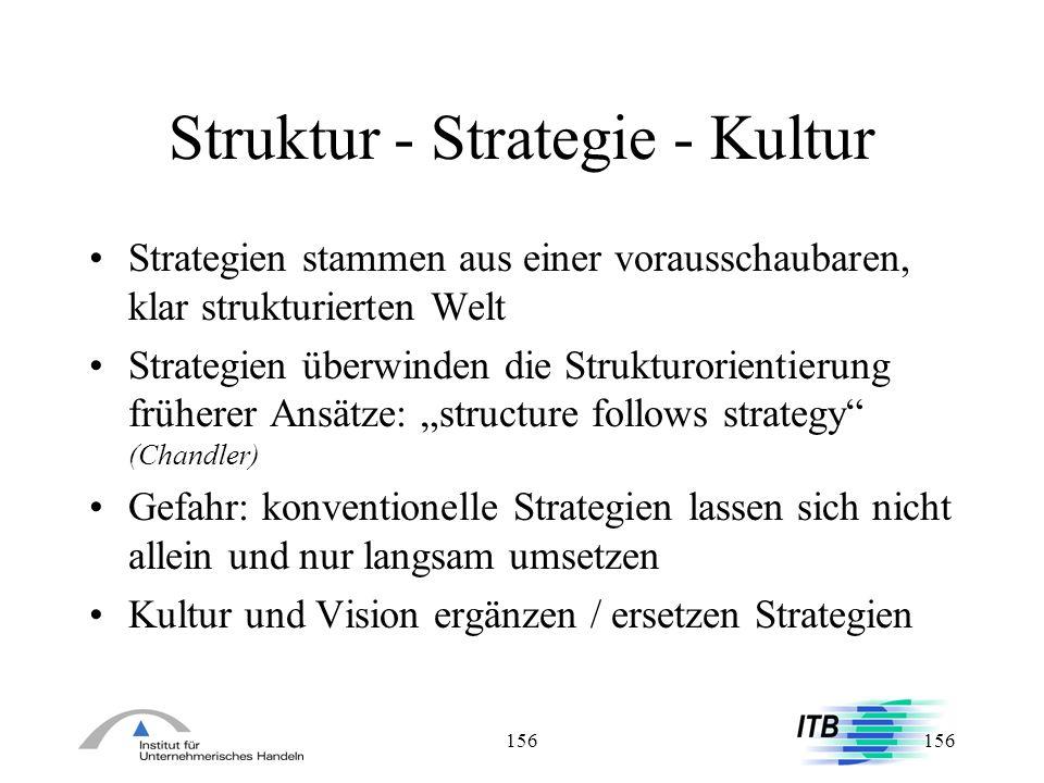 156 Struktur - Strategie - Kultur Strategien stammen aus einer vorausschaubaren, klar strukturierten Welt Strategien überwinden die Strukturorientieru
