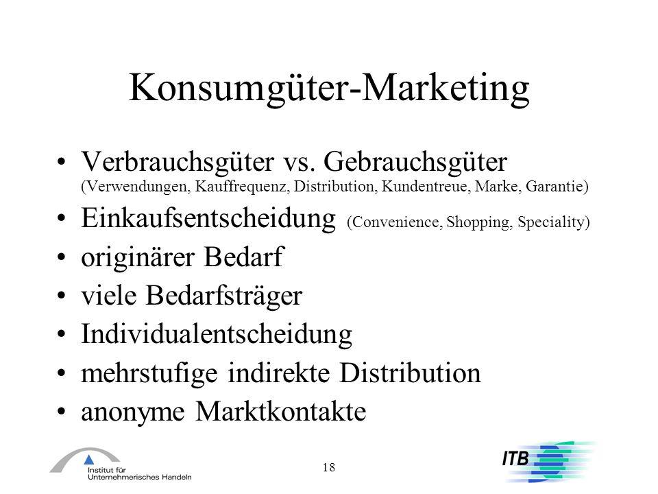 18 Konsumgüter-Marketing Verbrauchsgüter vs. Gebrauchsgüter (Verwendungen, Kauffrequenz, Distribution, Kundentreue, Marke, Garantie) Einkaufsentscheid