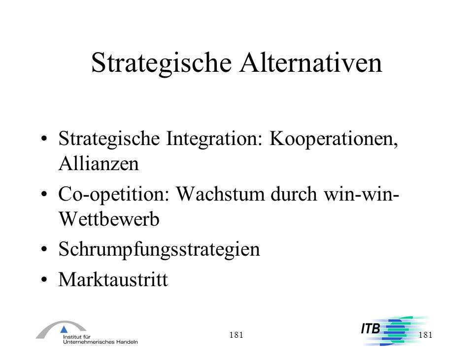 181 Strategische Alternativen Strategische Integration: Kooperationen, Allianzen Co-opetition: Wachstum durch win-win- Wettbewerb Schrumpfungsstrategi
