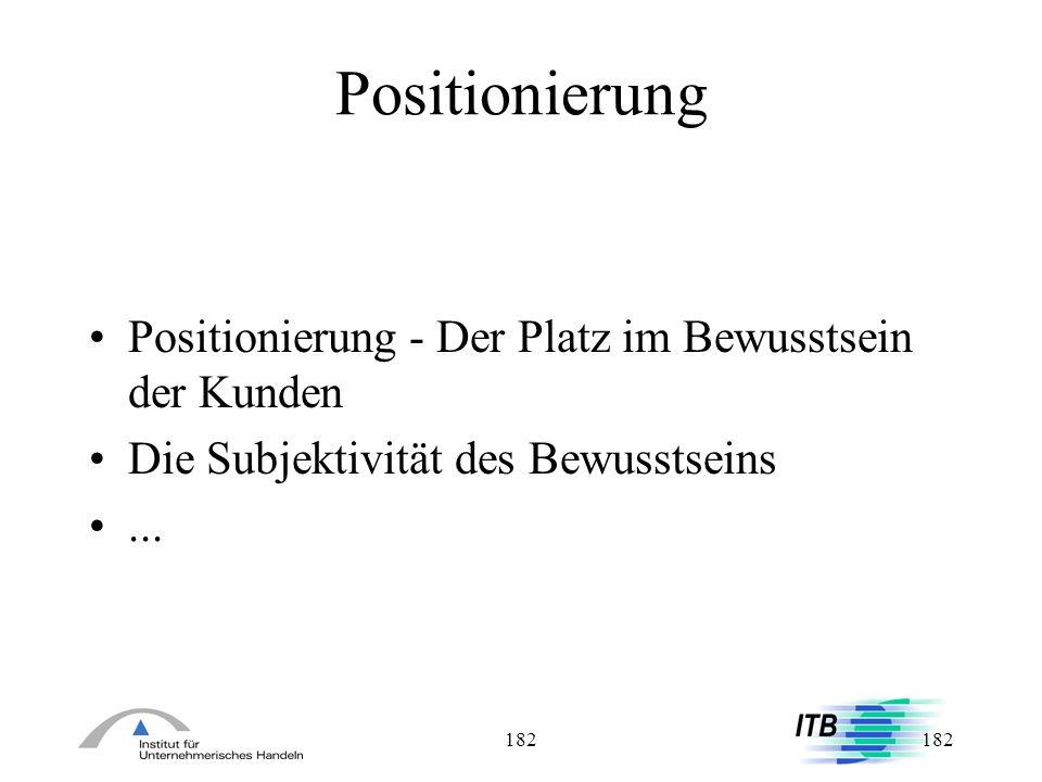 182 Positionierung Positionierung - Der Platz im Bewusstsein der Kunden Die Subjektivität des Bewusstseins...