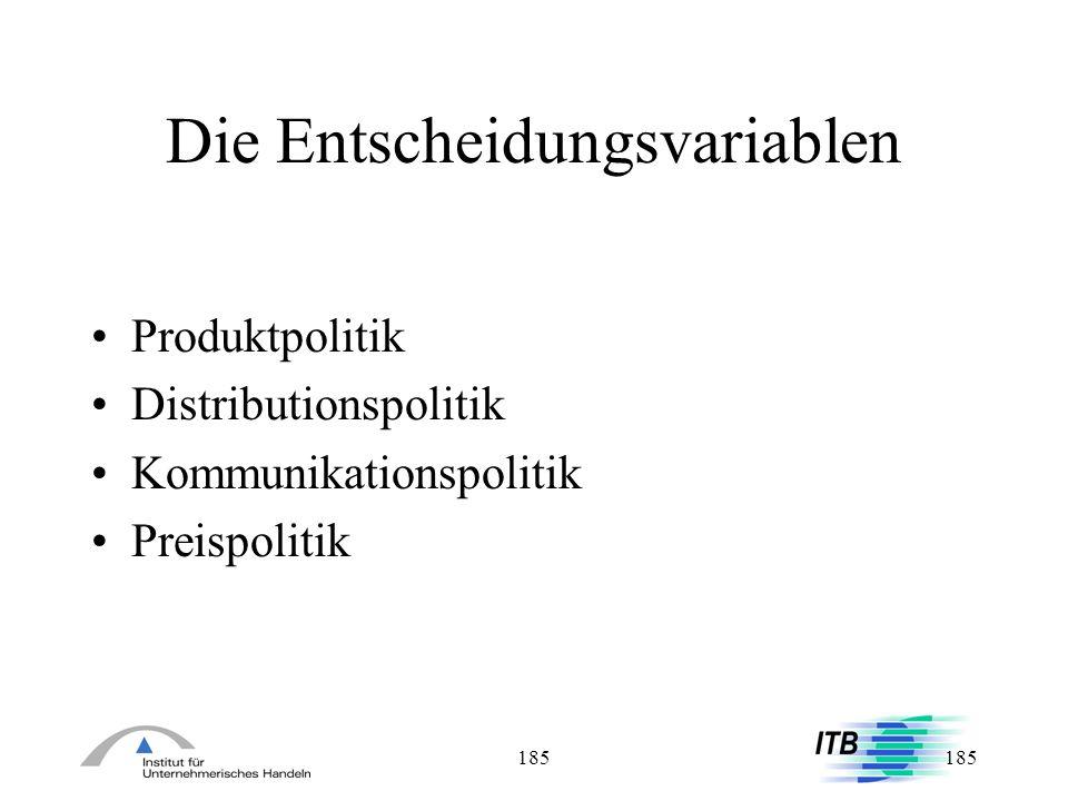 185 Die Entscheidungsvariablen Produktpolitik Distributionspolitik Kommunikationspolitik Preispolitik
