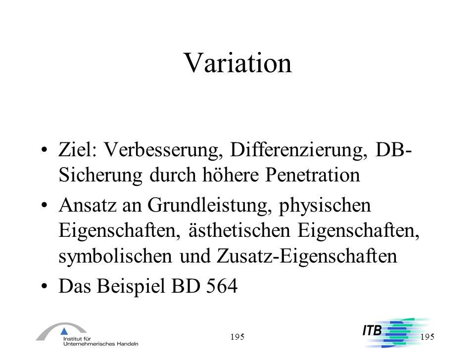 195 Variation Ziel: Verbesserung, Differenzierung, DB- Sicherung durch höhere Penetration Ansatz an Grundleistung, physischen Eigenschaften, ästhetisc