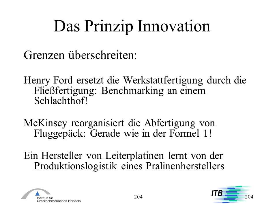 204 Das Prinzip Innovation Grenzen überschreiten: Henry Ford ersetzt die Werkstattfertigung durch die Fließfertigung: Benchmarking an einem Schlachtho
