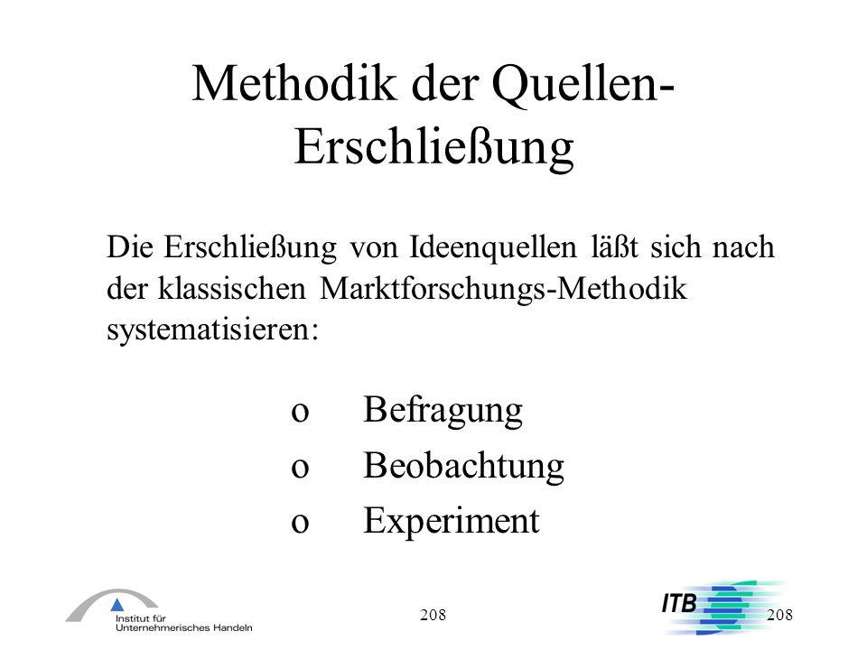 208 Methodik der Quellen- Erschließung Die Erschließung von Ideenquellen läßt sich nach der klassischen Marktforschungs-Methodik systematisieren: oBef