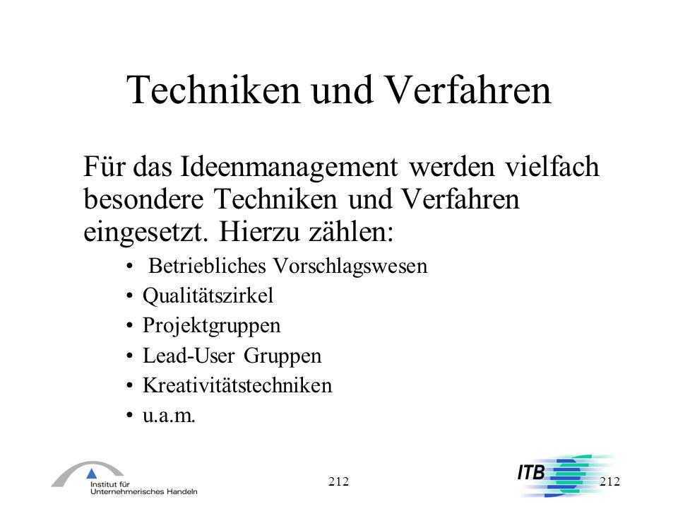 212 Techniken und Verfahren Für das Ideenmanagement werden vielfach besondere Techniken und Verfahren eingesetzt. Hierzu zählen: Betriebliches Vorschl