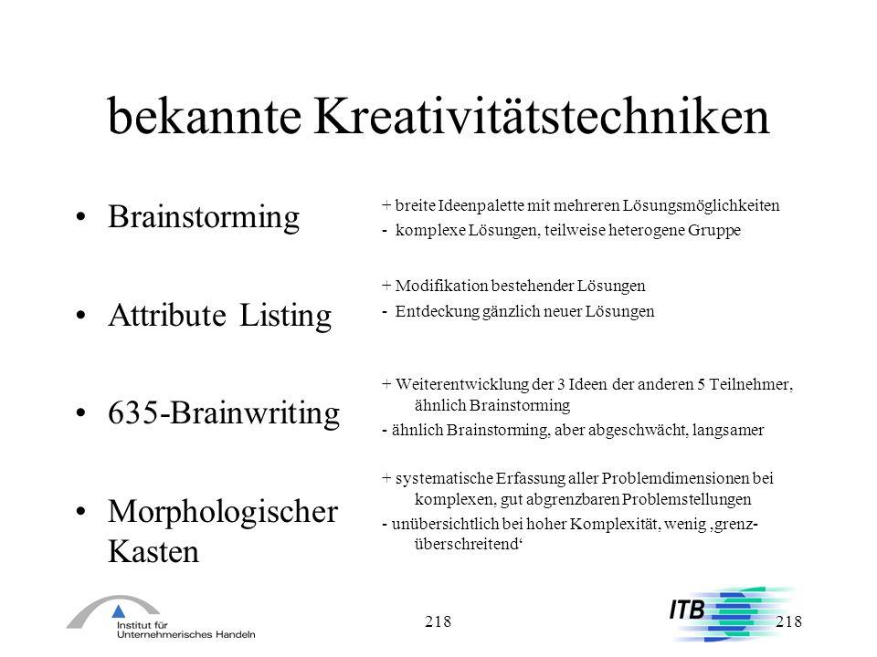 218 bekannte Kreativitätstechniken Brainstorming Attribute Listing 635-Brainwriting Morphologischer Kasten + breite Ideenpalette mit mehreren Lösungsm