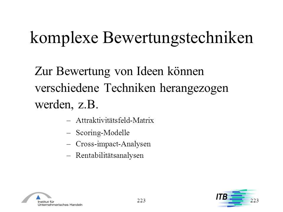 223 komplexe Bewertungstechniken Zur Bewertung von Ideen können verschiedene Techniken herangezogen werden, z.B. – Attraktivitätsfeld-Matrix – Scoring