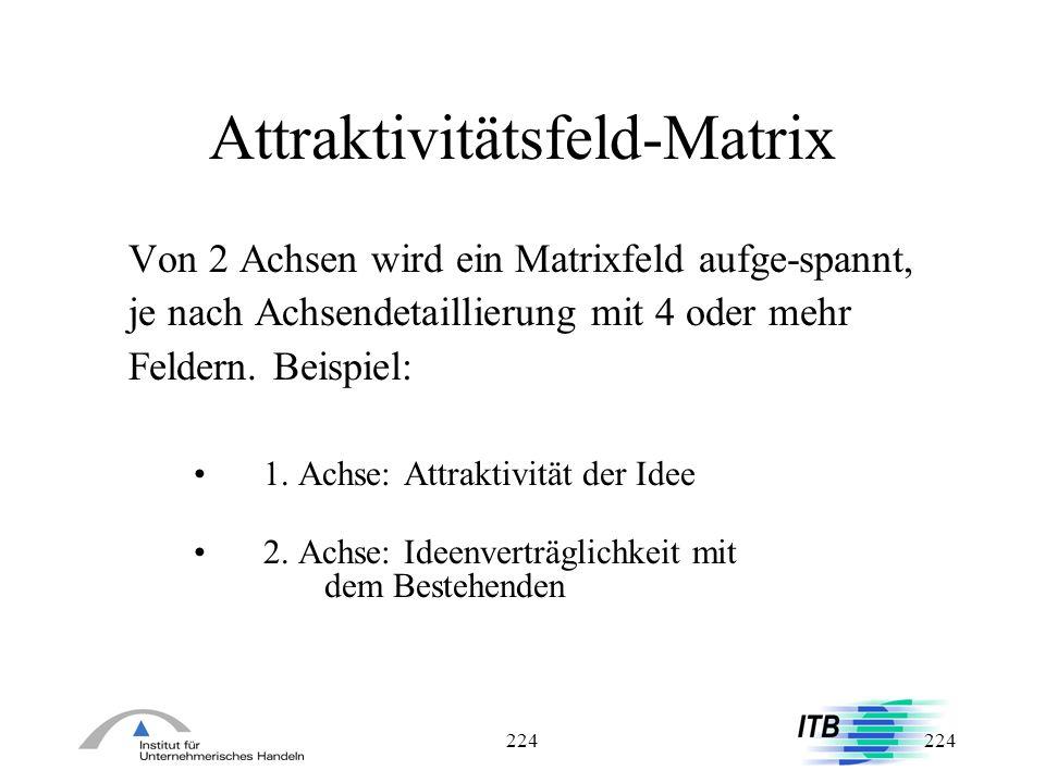 224 Attraktivitätsfeld-Matrix Von 2 Achsen wird ein Matrixfeld aufge-spannt, je nach Achsendetaillierung mit 4 oder mehr Feldern. Beispiel: 1. Achse: