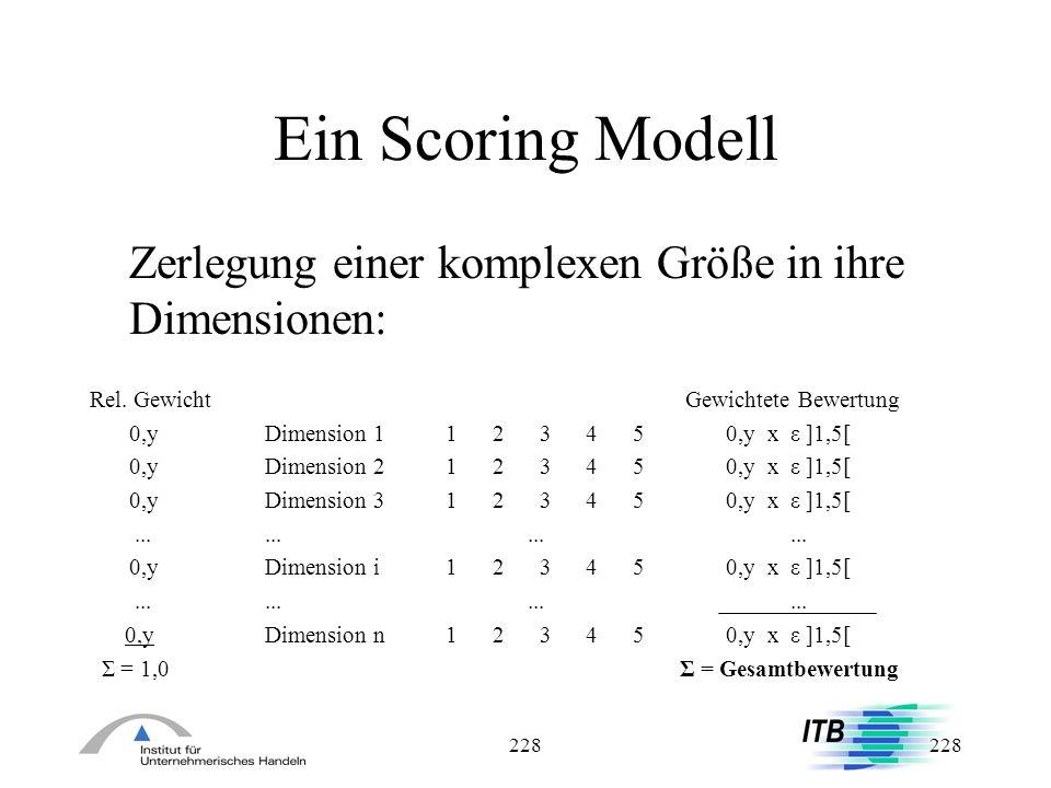228 Ein Scoring Modell Zerlegung einer komplexen Größe in ihre Dimensionen: Rel. Gewicht Gewichtete Bewertung 0,yDimension 1 1 2 3 4 5 0,y x ε ]1,5[ 0