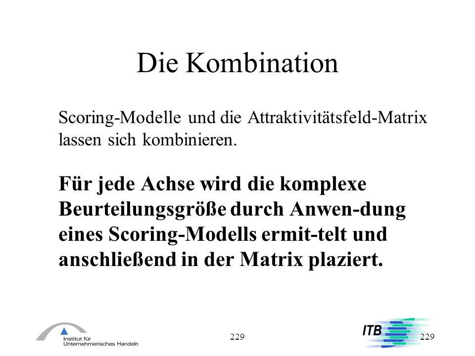 229 Die Kombination Scoring-Modelle und die Attraktivitätsfeld-Matrix lassen sich kombinieren. Für jede Achse wird die komplexe Beurteilungsgröße durc