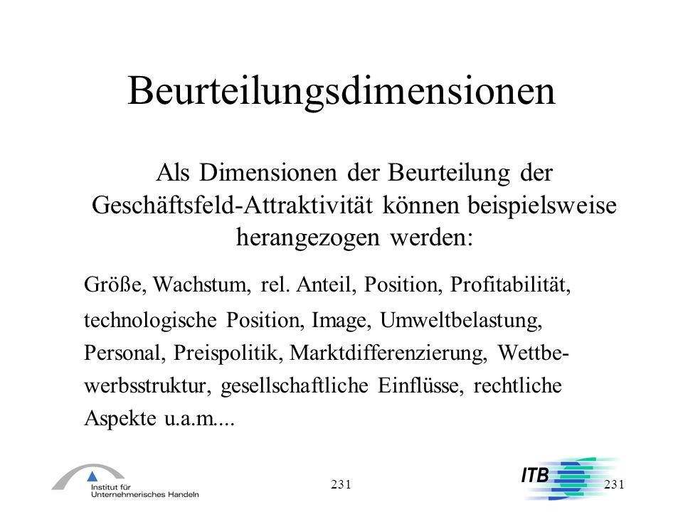 231 Beurteilungsdimensionen Als Dimensionen der Beurteilung der Geschäftsfeld-Attraktivität können beispielsweise herangezogen werden: Größe, Wachstum
