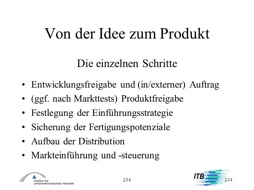 234 Von der Idee zum Produkt Die einzelnen Schritte Entwicklungsfreigabe und (in/externer) Auftrag (ggf. nach Markttests) Produktfreigabe Festlegung d