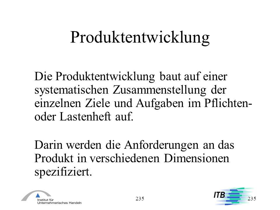 235 Produktentwicklung Die Produktentwicklung baut auf einer systematischen Zusammenstellung der einzelnen Ziele und Aufgaben im Pflichten- oder Laste