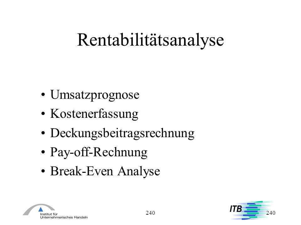 240 Rentabilitätsanalyse Umsatzprognose Kostenerfassung Deckungsbeitragsrechnung Pay-off-Rechnung Break-Even Analyse