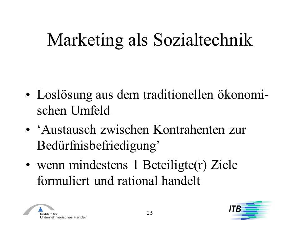 25 Marketing als Sozialtechnik Loslösung aus dem traditionellen ökonomi- schen Umfeld Austausch zwischen Kontrahenten zur Bedürfnisbefriedigung wenn m