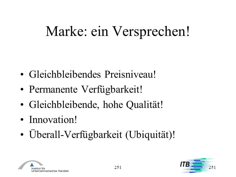 251 Marke: ein Versprechen! Gleichbleibendes Preisniveau! Permanente Verfügbarkeit! Gleichbleibende, hohe Qualität! Innovation! Überall-Verfügbarkeit