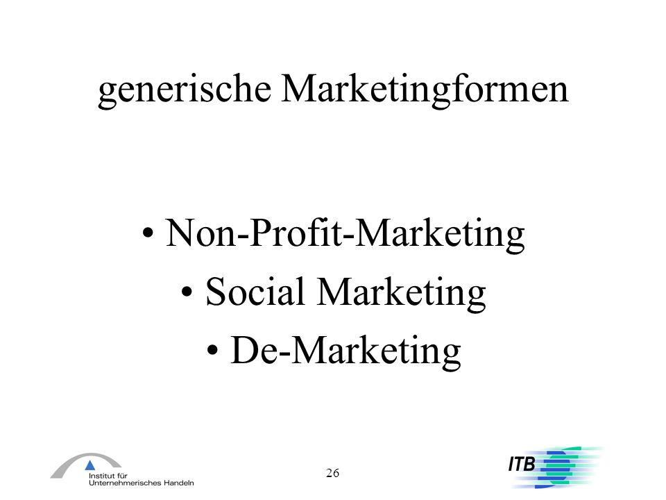 26 generische Marketingformen Non-Profit-Marketing Social Marketing De-Marketing