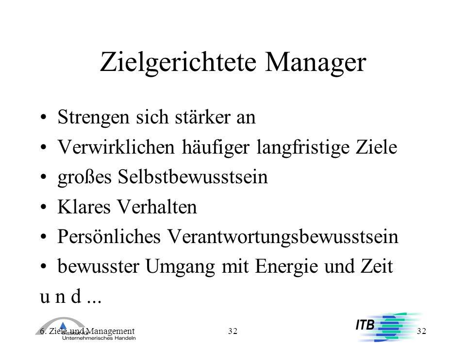 6. Ziele und Management32 Zielgerichtete Manager Strengen sich stärker an Verwirklichen häufiger langfristige Ziele großes Selbstbewusstsein Klares Ve