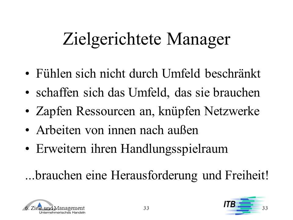 6. Ziele und Management33 Zielgerichtete Manager Fühlen sich nicht durch Umfeld beschränkt schaffen sich das Umfeld, das sie brauchen Zapfen Ressource