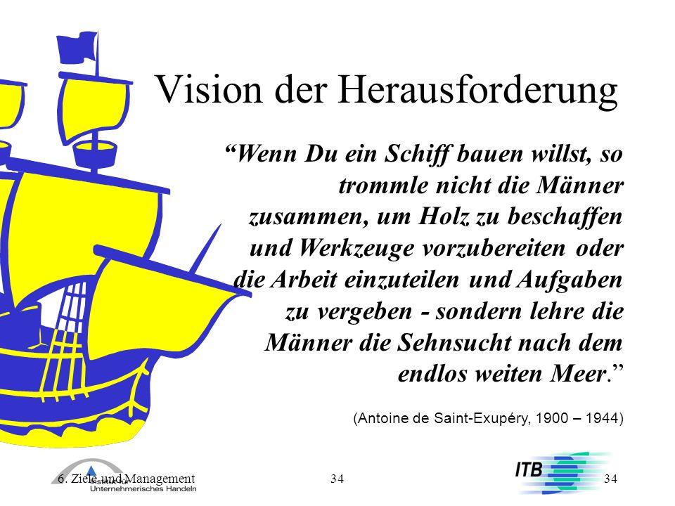 6. Ziele und Management34 Vision der Herausforderung Wenn Du ein Schiff bauen willst, so trommle nicht die Männer zusammen, um Holz zu beschaffen und