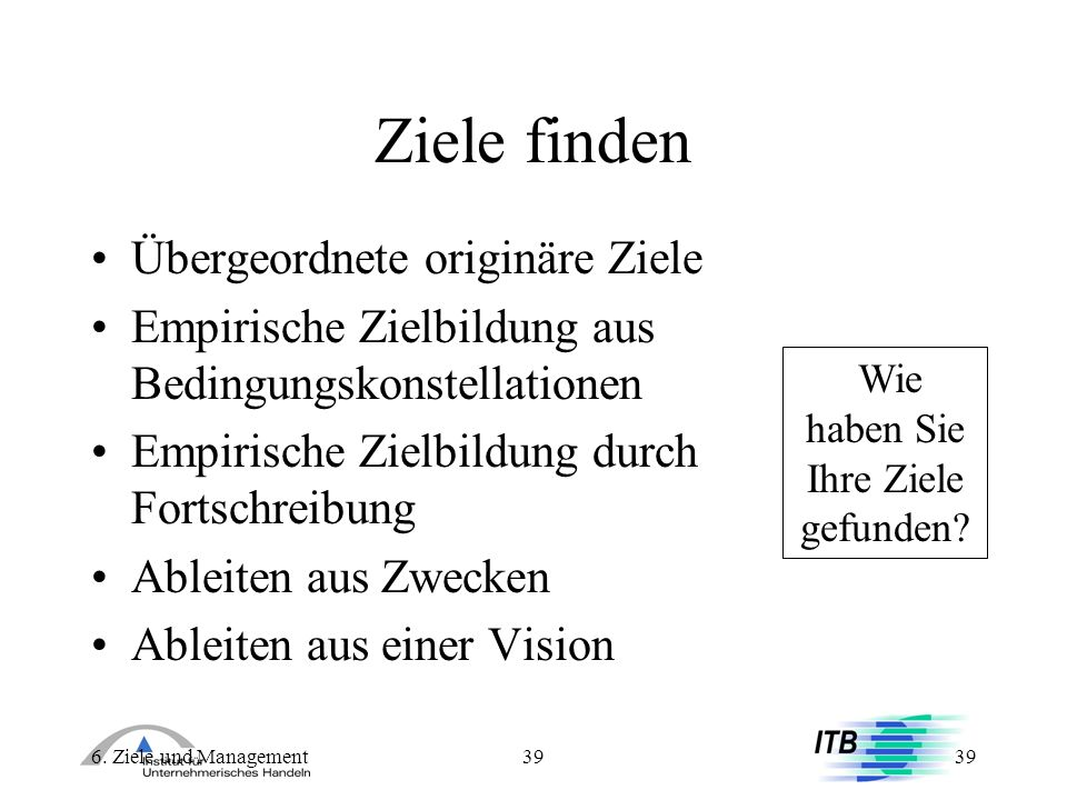 6. Ziele und Management39 Ziele finden Übergeordnete originäre Ziele Empirische Zielbildung aus Bedingungskonstellationen Empirische Zielbildung durch