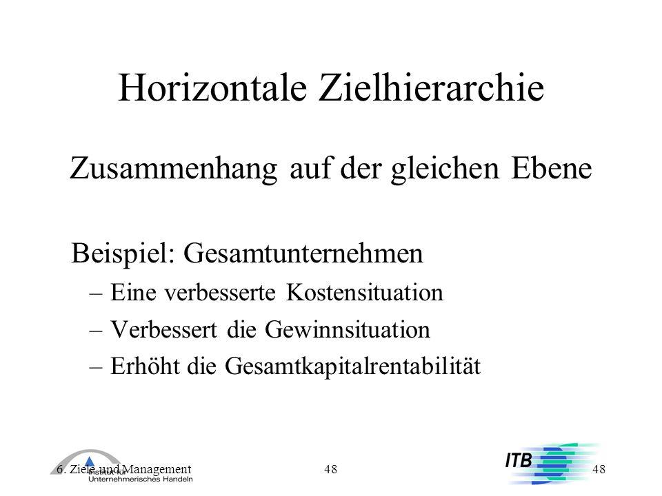 6. Ziele und Management48 Horizontale Zielhierarchie Zusammenhang auf der gleichen Ebene Beispiel: Gesamtunternehmen –Eine verbesserte Kostensituation