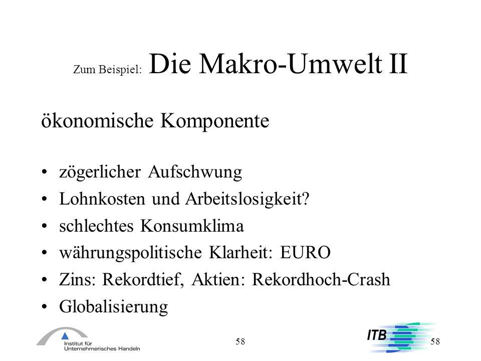 58 Zum Beispiel: Die Makro-Umwelt II ökonomische Komponente zögerlicher Aufschwung Lohnkosten und Arbeitslosigkeit? schlechtes Konsumklima währungspol