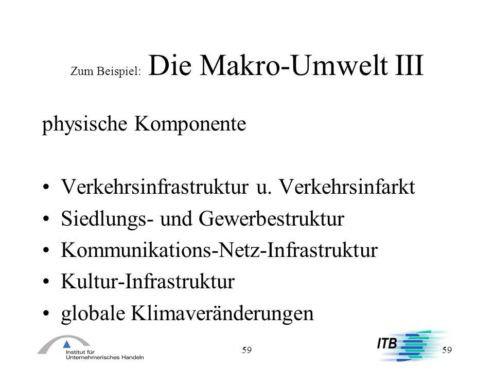 59 Zum Beispiel: Die Makro-Umwelt III physische Komponente Verkehrsinfrastruktur u. Verkehrsinfarkt Siedlungs- und Gewerbestruktur Kommunikations-Netz