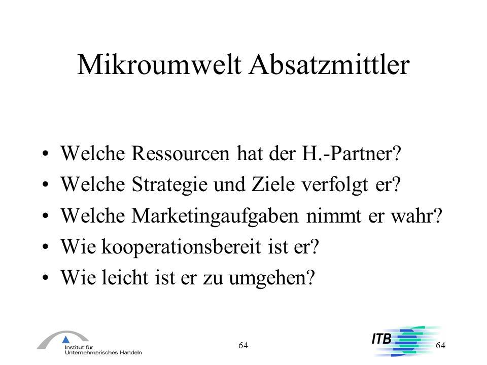 64 Mikroumwelt Absatzmittler Welche Ressourcen hat der H.-Partner? Welche Strategie und Ziele verfolgt er? Welche Marketingaufgaben nimmt er wahr? Wie