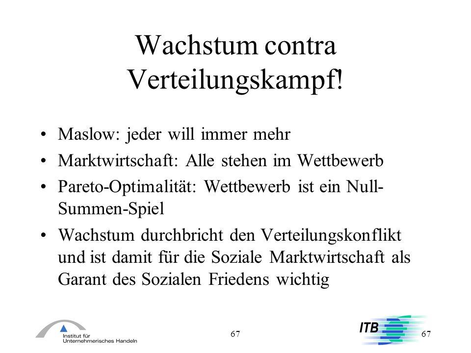 67 Wachstum contra Verteilungskampf! Maslow: jeder will immer mehr Marktwirtschaft: Alle stehen im Wettbewerb Pareto-Optimalität: Wettbewerb ist ein N