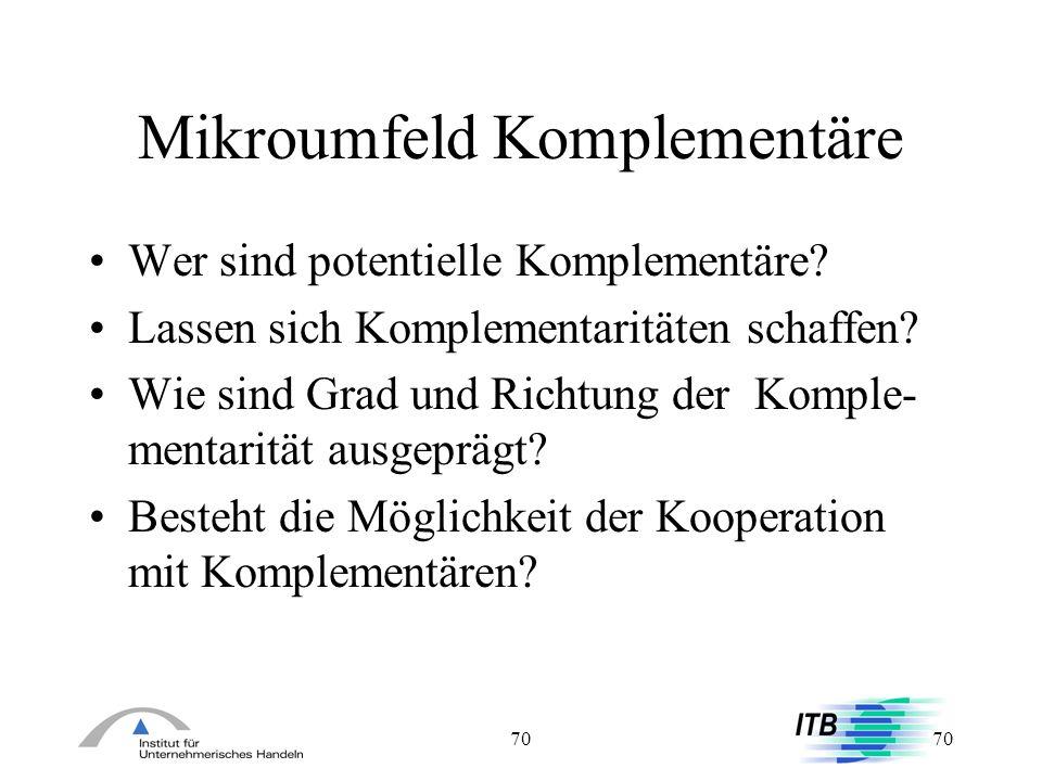 70 Mikroumfeld Komplementäre Wer sind potentielle Komplementäre? Lassen sich Komplementaritäten schaffen? Wie sind Grad und Richtung der Komple- menta