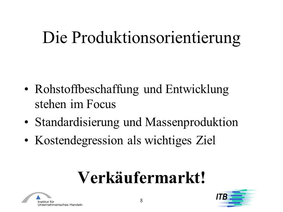 9 Die Verkaufsorientierung erste Sättigungserscheinungen Ersatz ganzer Produkt-Kategorien im Konsum verstärkte Verkaufsanstrengungen (hard- selling) Produktions- und Investitions-Optimierung Absatzrationalisierung: Übersetzung des Handels
