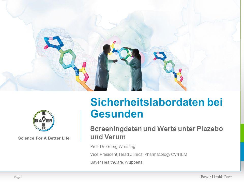 Sicherheitslabordaten bei Gesunden Page 1 Screeningdaten und Werte unter Plazebo und Verum Prof. Dr. Georg Wensing Vice-President, Head Clinical Pharm
