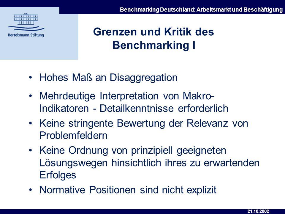 21.10.2002 Benchmarking Deutschland: Arbeitsmarkt und Beschäftigung Vorteile des Benchmarking Hohes Maß an Disaggregation Fundierte Erfassung der Arbe