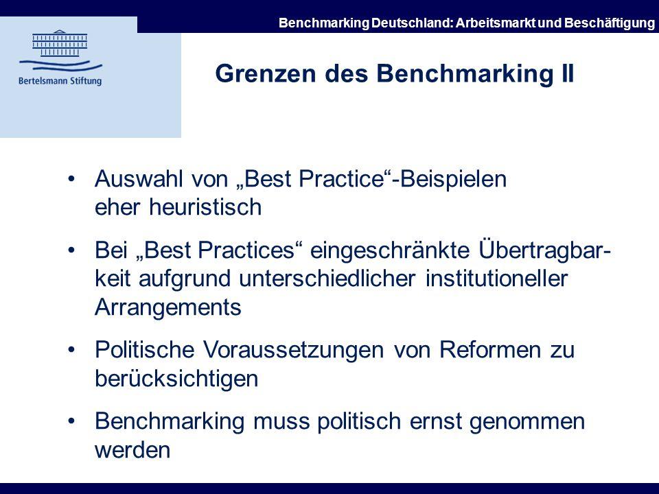 21.10.2002 Benchmarking Deutschland: Arbeitsmarkt und Beschäftigung Grenzen und Kritik des Benchmarking I Hohes Maß an Disaggregation Mehrdeutige Inte