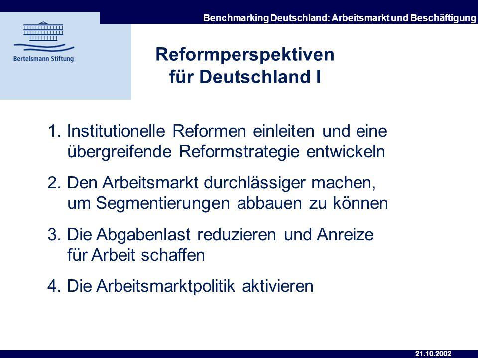 21.10.2002 Benchmarking Deutschland: Arbeitsmarkt und Beschäftigung 5. Defizite bei der Vermittlung und Eingliederung von Stellensuchenden 6. Nachholb