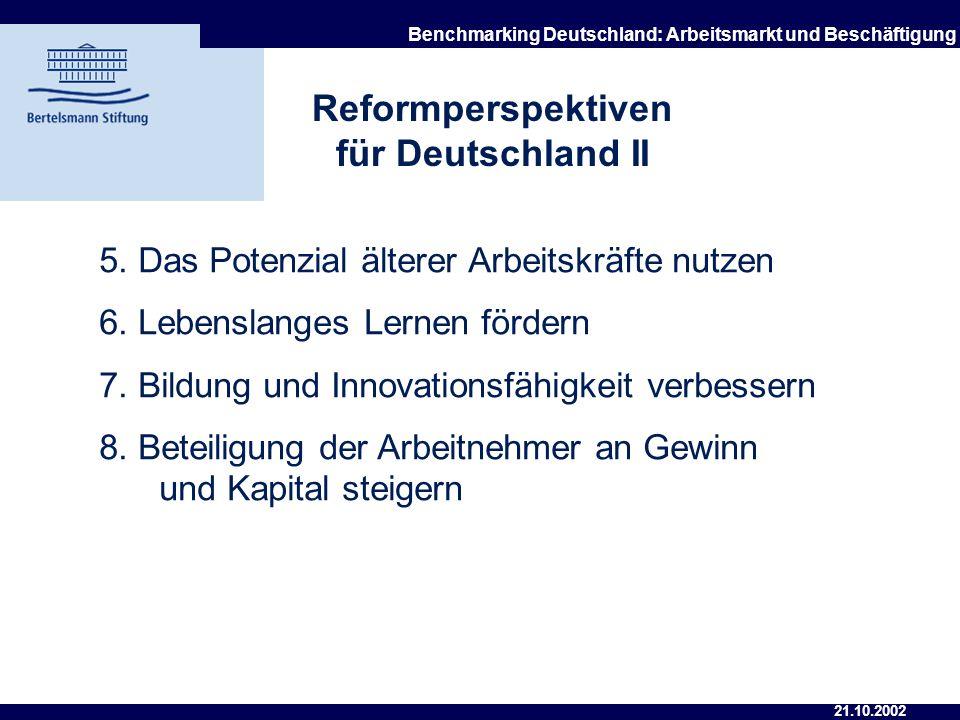 21.10.2002 Benchmarking Deutschland: Arbeitsmarkt und Beschäftigung Reformperspektiven für Deutschland I 1. Institutionelle Reformen einleiten und ein
