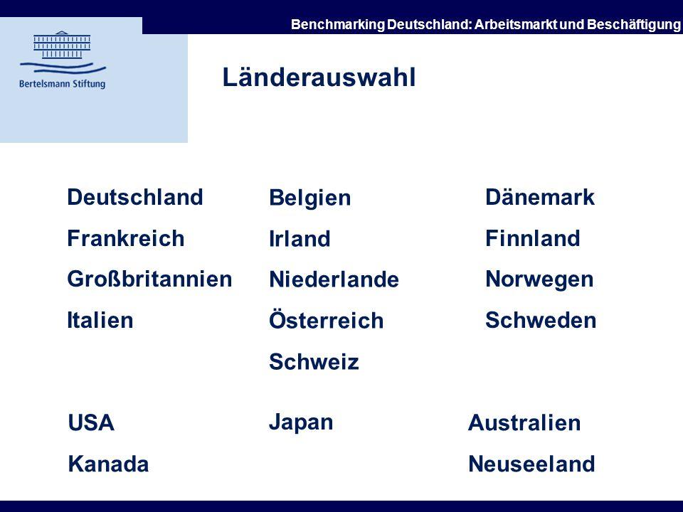 21.10.2002 Benchmarking Deutschland: Arbeitsmarkt und Beschäftigung Arbeitsgruppe Benchmarking und Bertelsmann Stiftung Ziele des Benchmarking-Projekt