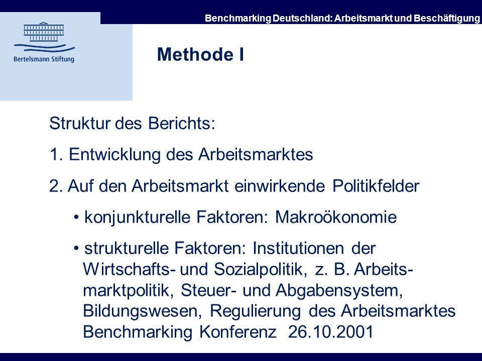21.10.2002 Benchmarking Deutschland: Arbeitsmarkt und Beschäftigung Länderauswahl USA Kanada Japan Australien Neuseeland Deutschland Frankreich Großbr