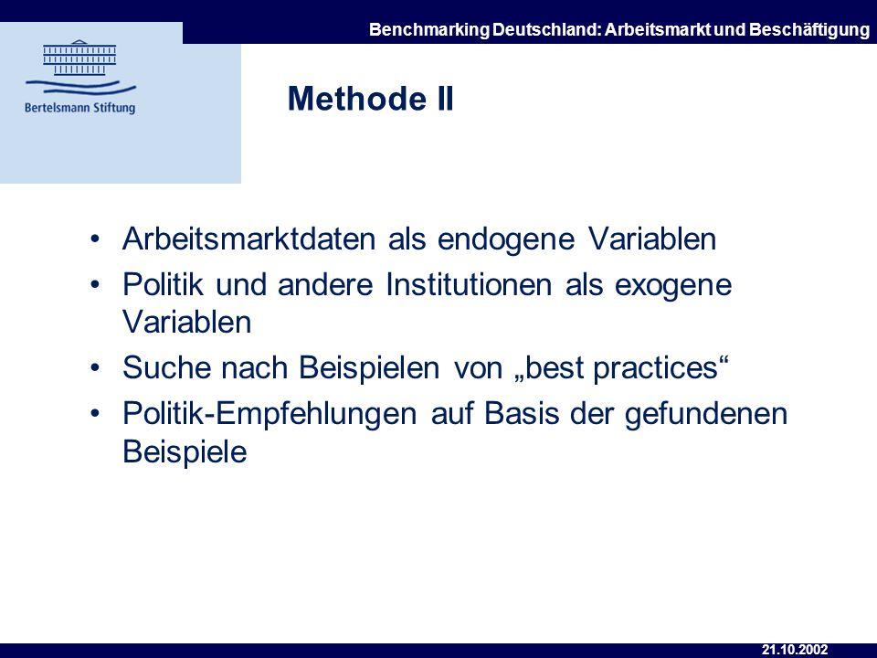 21.10.2002 Benchmarking Deutschland: Arbeitsmarkt und Beschäftigung Methode I Struktur des Berichts: 1. Entwicklung des Arbeitsmarktes 2. Auf den Arbe